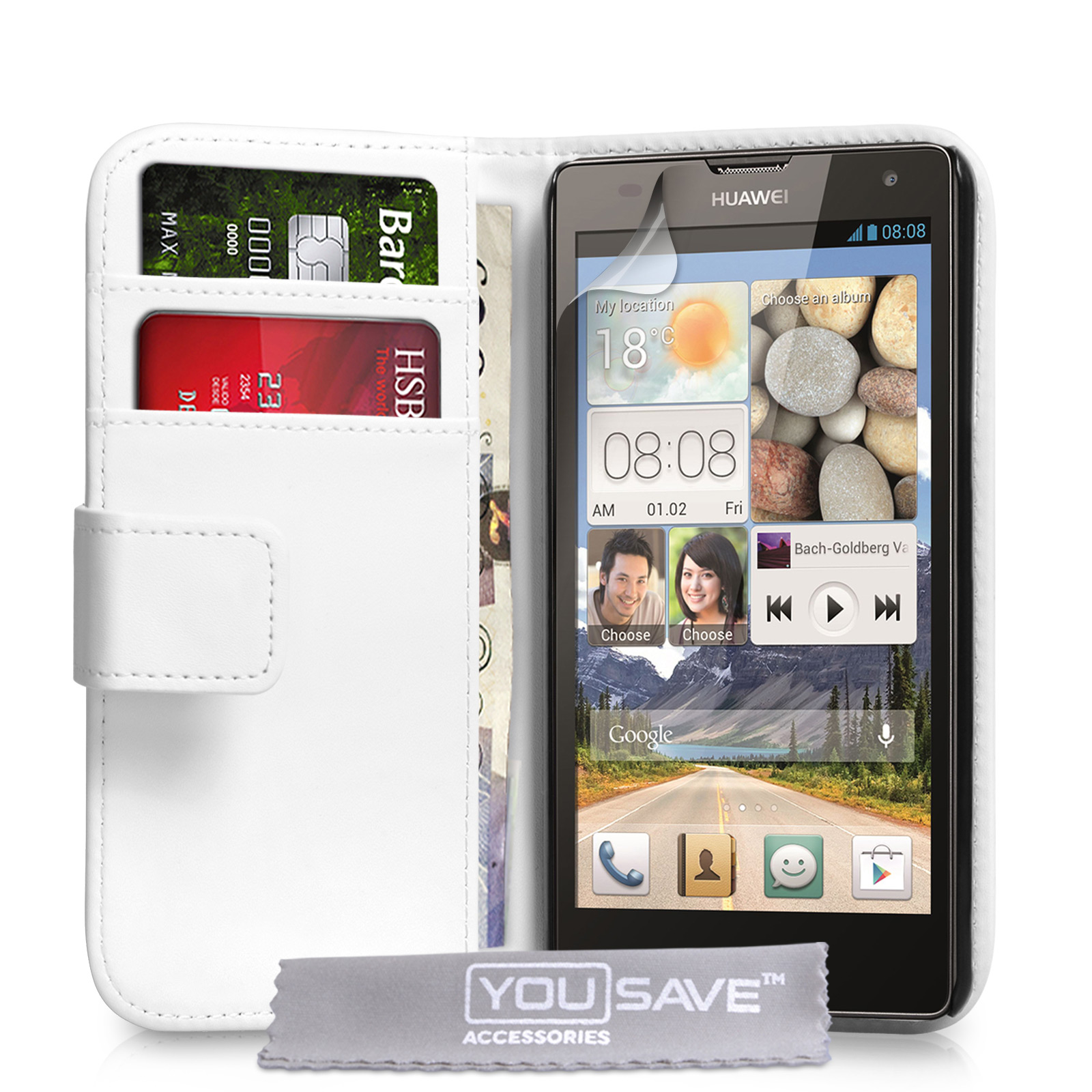 YouSave Huawei Ascend G740 Leather-Effect Wallet Case - White