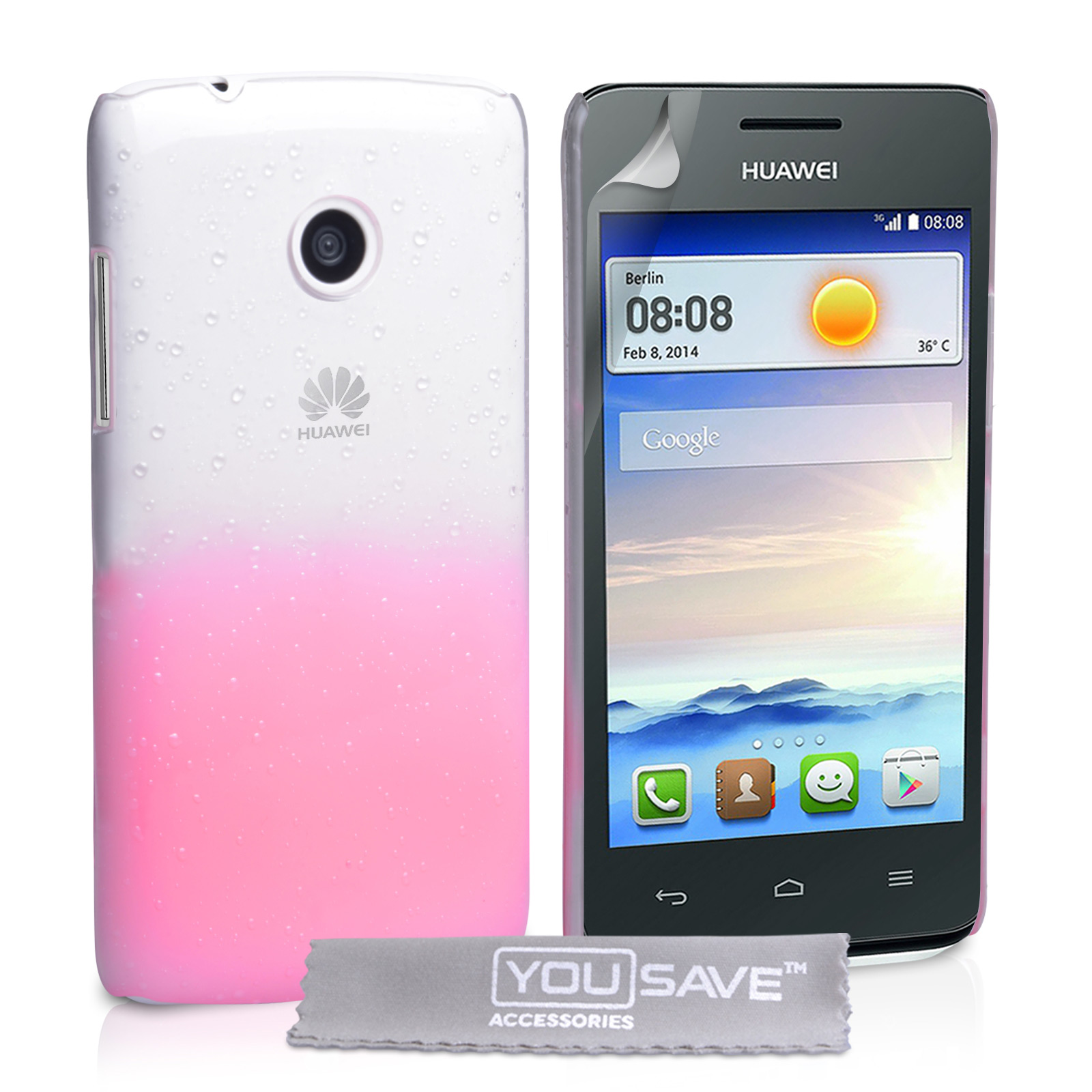 YouSave Huawei Ascend Y330 Raindrop Hard Case - Baby Pink-Clear