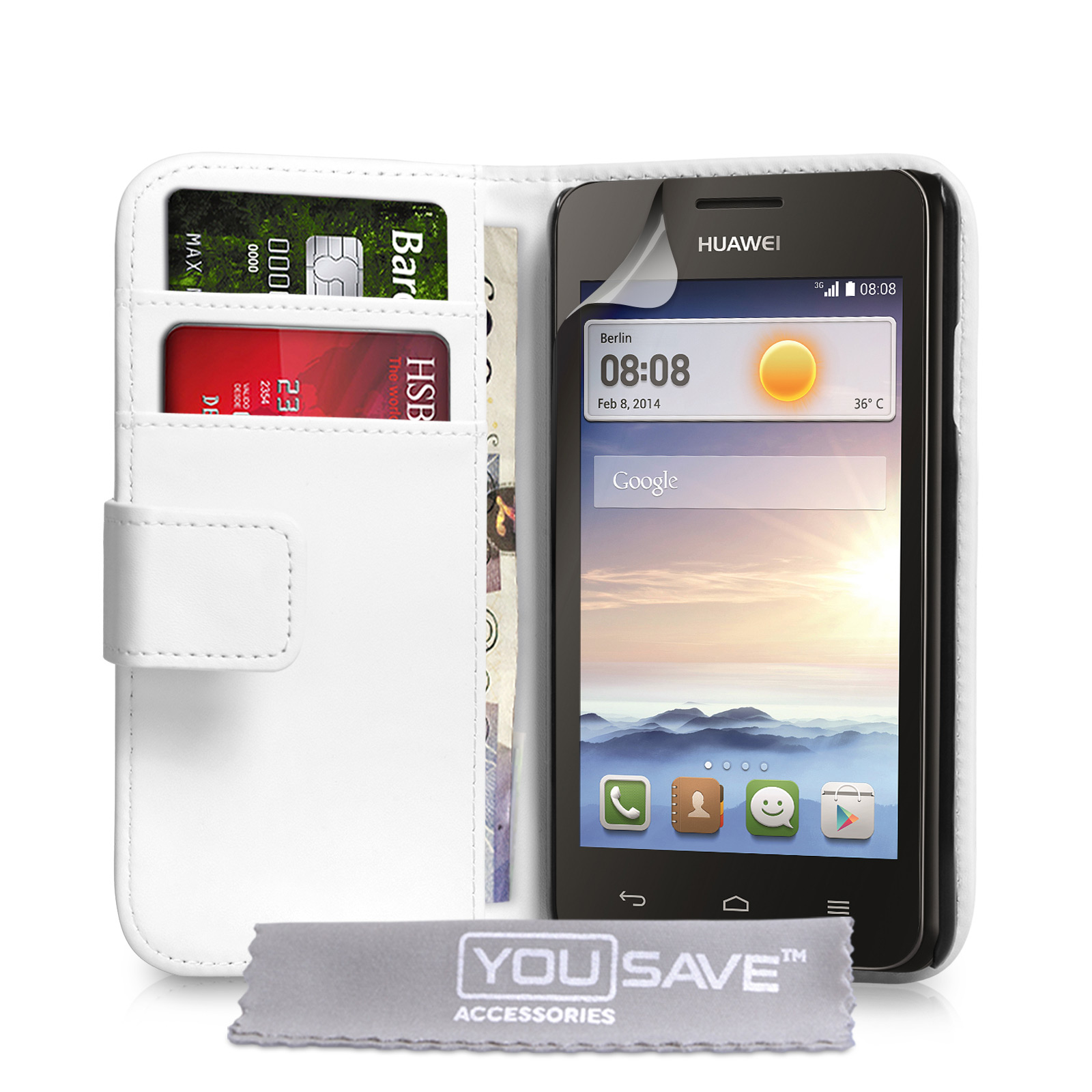 YouSave Huawei Ascend Y330 Leather-Effect Wallet Case - White