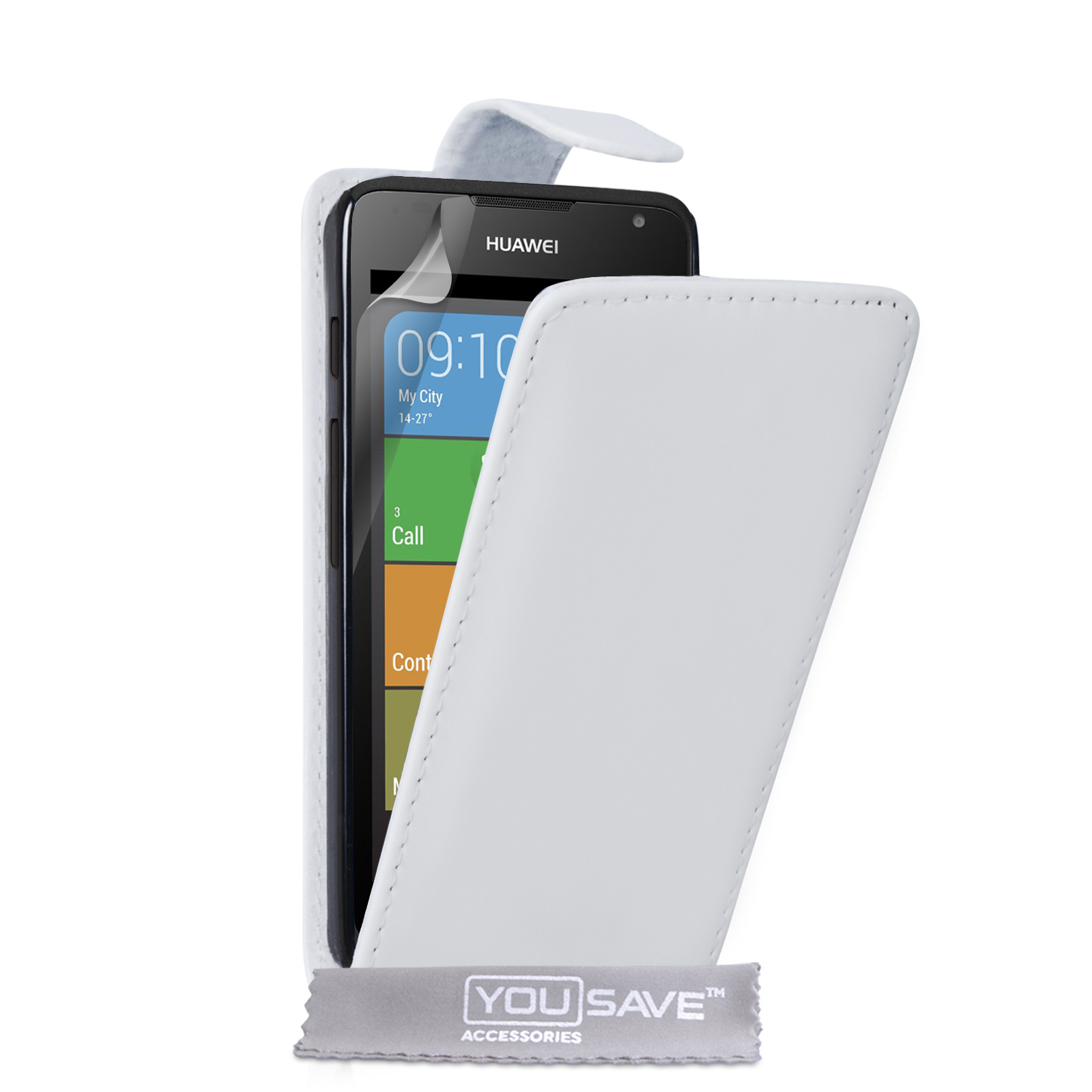 YouSave Huawei Ascend Y530 Leather-Effect Flip Case - White