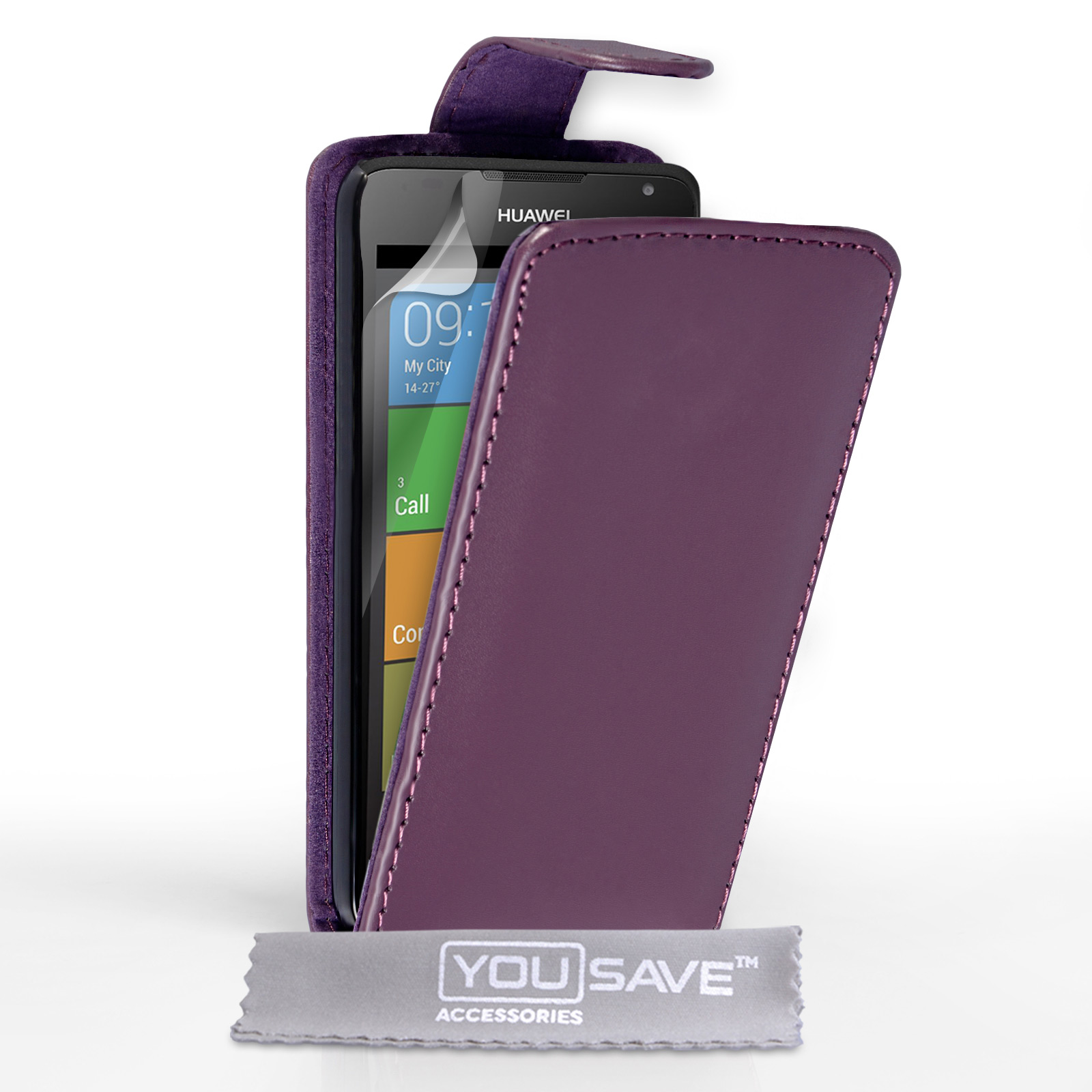 YouSave Huawei Ascend Y530 Leather-Effect Flip Case - Purple