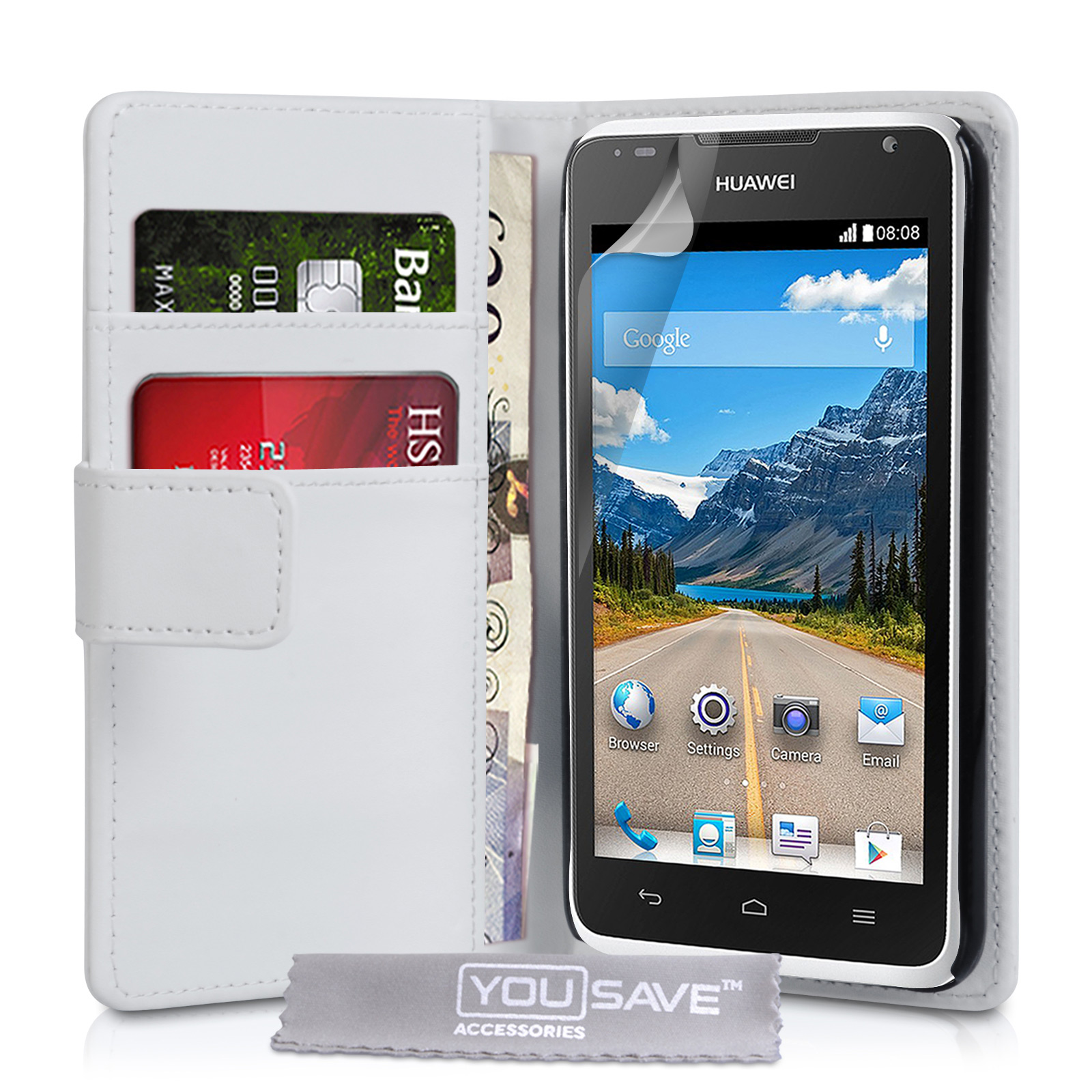 YouSave Huawei Ascend Y530 Leather-Effect Wallet Case - White