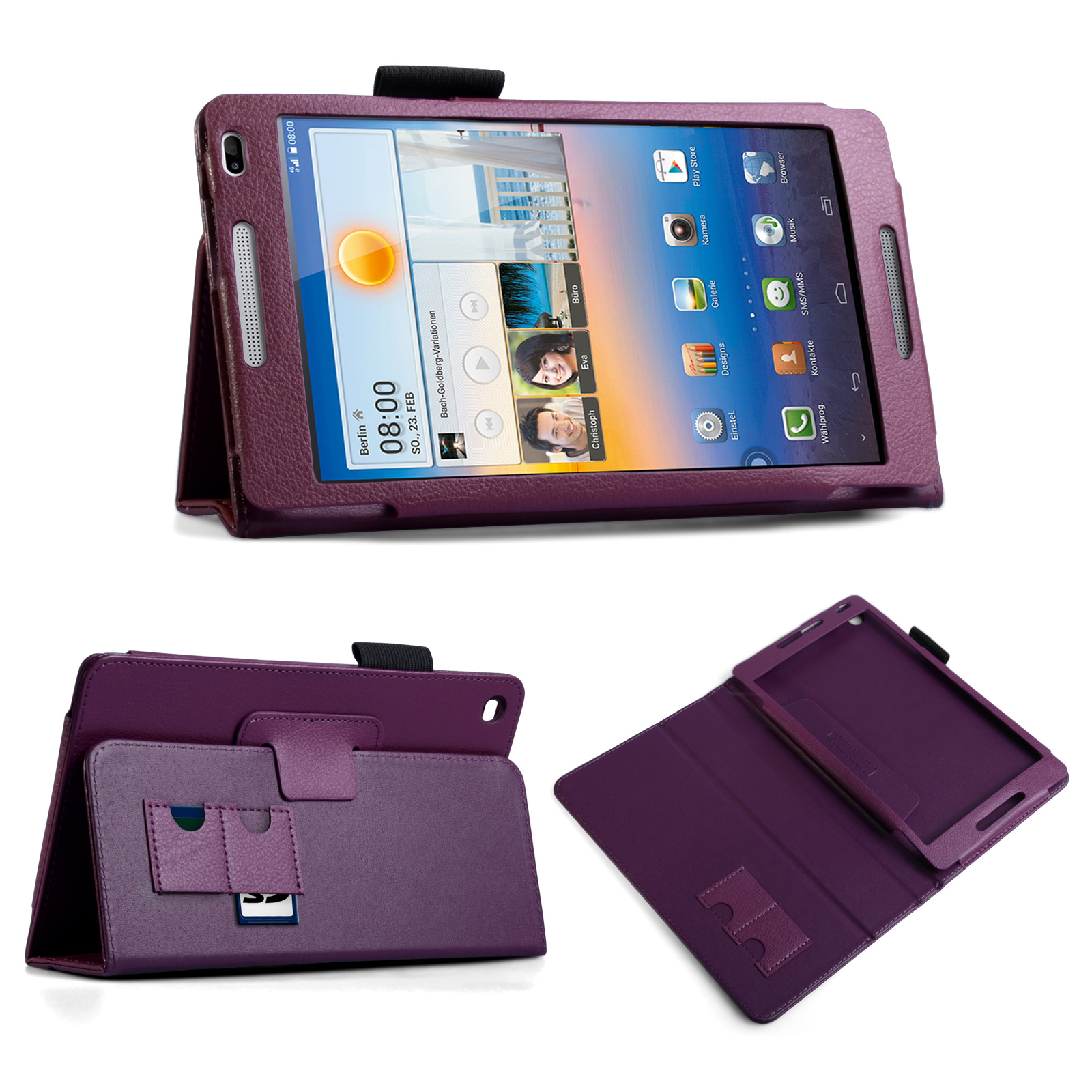 YouSave Huawei Mediapad M1 Textured Faux Leather Stand Case - Purple