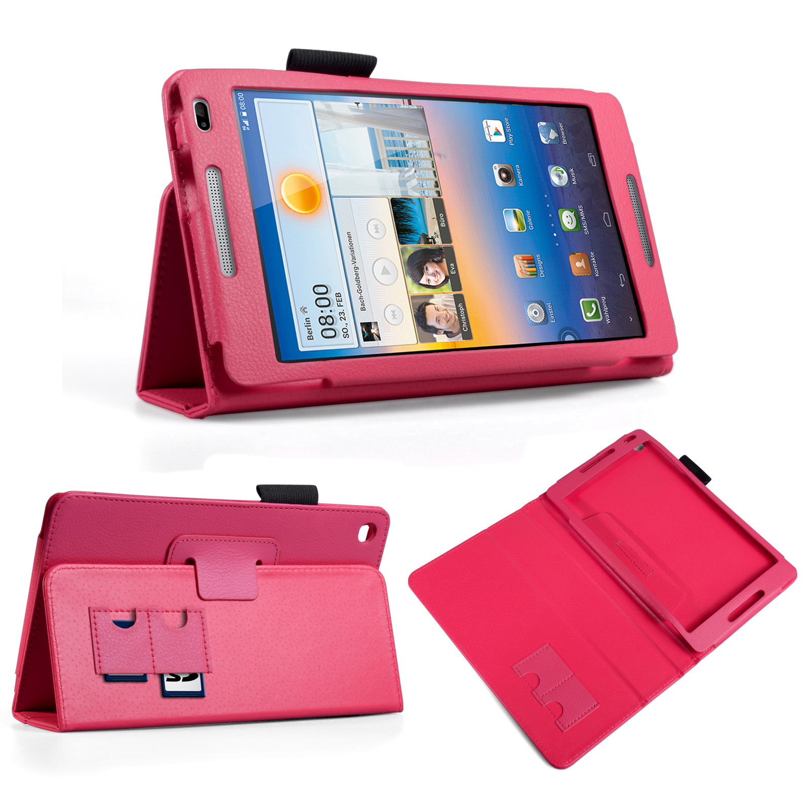 YouSave Huawei Mediapad M1 Textured Faux Leather Stand Case Hot Pink