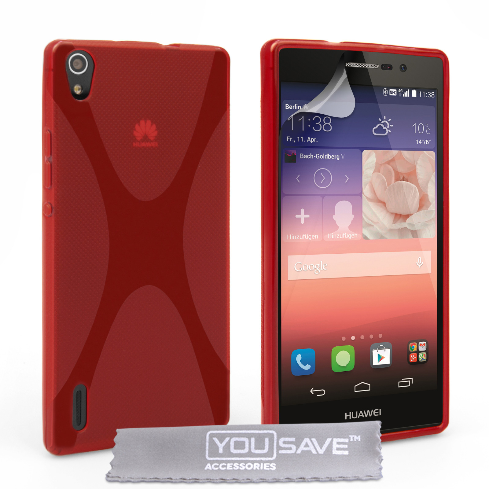 YouSave Accessories Huawei Ascend P7 Silicone Gel X-Line Case - Red