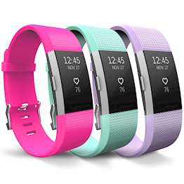 YouSave Fitbit Charge 2 Strap 3-Pack (Large) - Hot Pink/Mint Green/Lilac