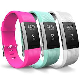 YouSave Fitbit Charge 2 Strap 3-Pack (Large) - Hot Pink/Mint Green/White