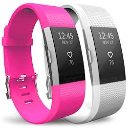 YouSave Fitbit Charge 2 Strap 2-Pack (Small) - Hot Pink/White