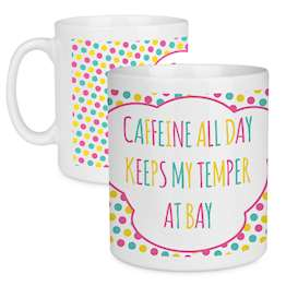 Caffeine Lover Quote Polka Dot Design Large Mug