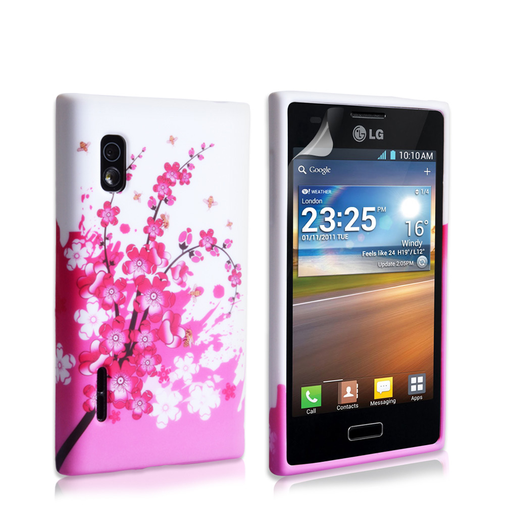 YouSave Accessories LG Optimus L5 Floral Bee Silicone Gel Case