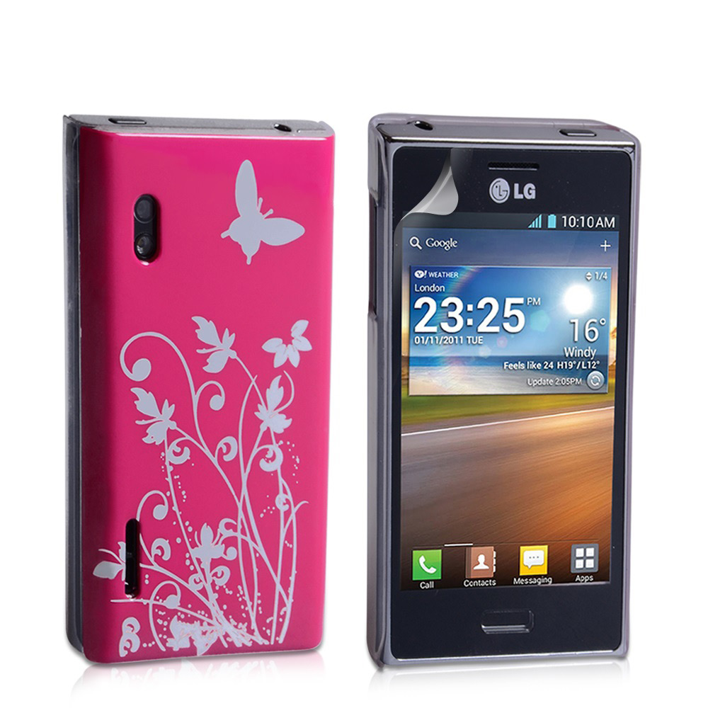 YouSave Accessories LG Optimus L5 Hot Pink Butterfly IMD Hard Case