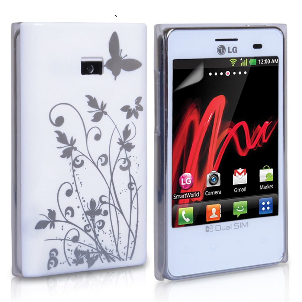 YouSave Accessories LG Optimus L3 White Butterfly IMD Hard Case
