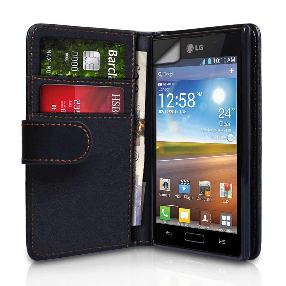 YouSave Accessories LG Optimus L7 Black Leather Effect Wallet Case