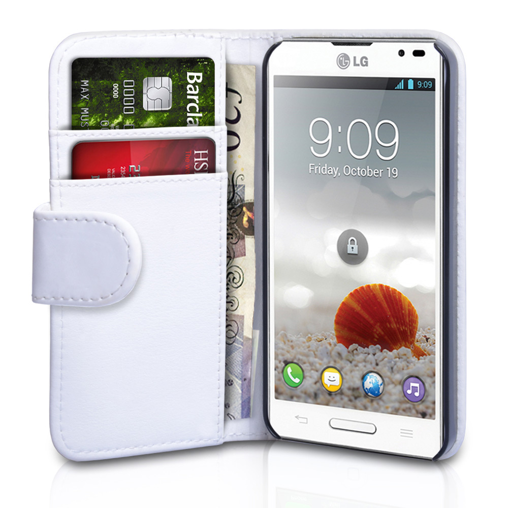 YouSave Accessories LG Optimus L9 White Leather Effect Wallet Case