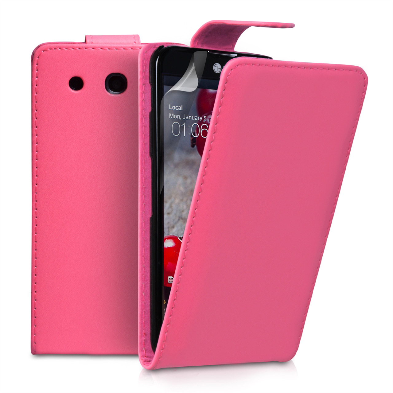 YouSave Accessories LG G Pro Leather Effect Flip Case - Hot Pink