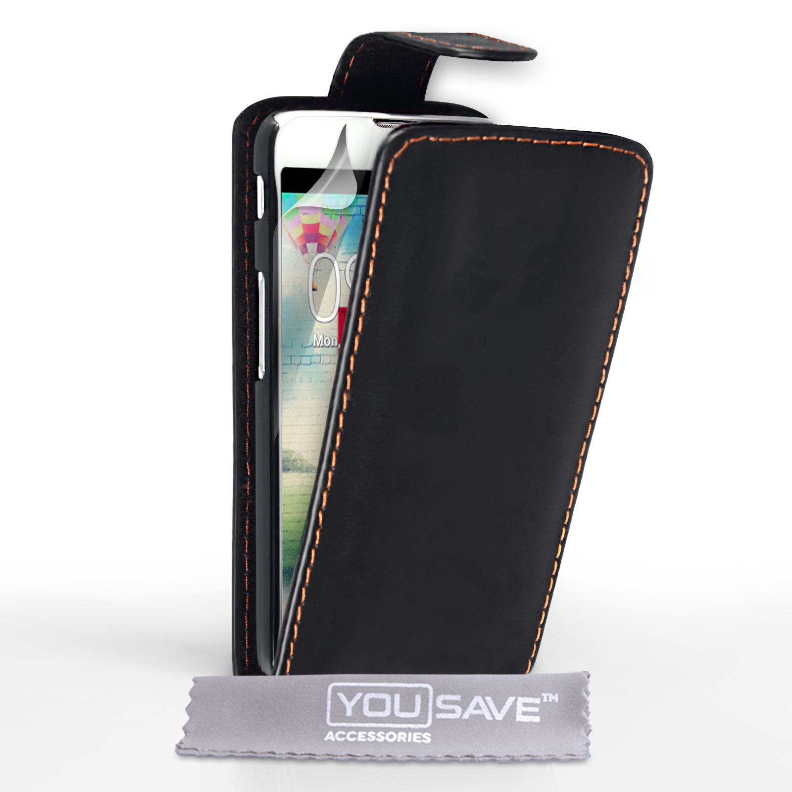 YouSave Accessories LG L70 Leather-Effect Flip Case - Black