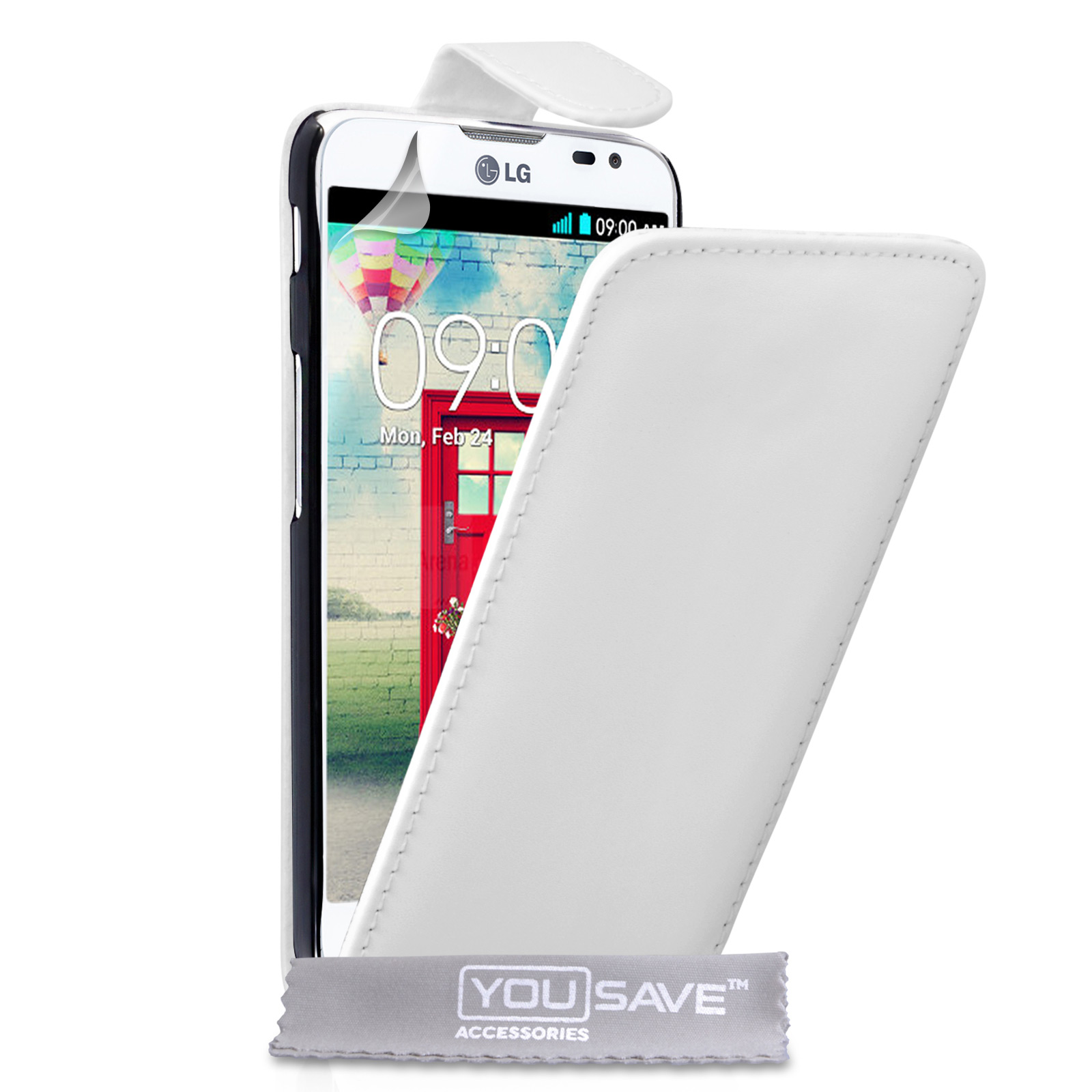 YouSave Accessories LG L90 Leather-Effect Flip Case - White