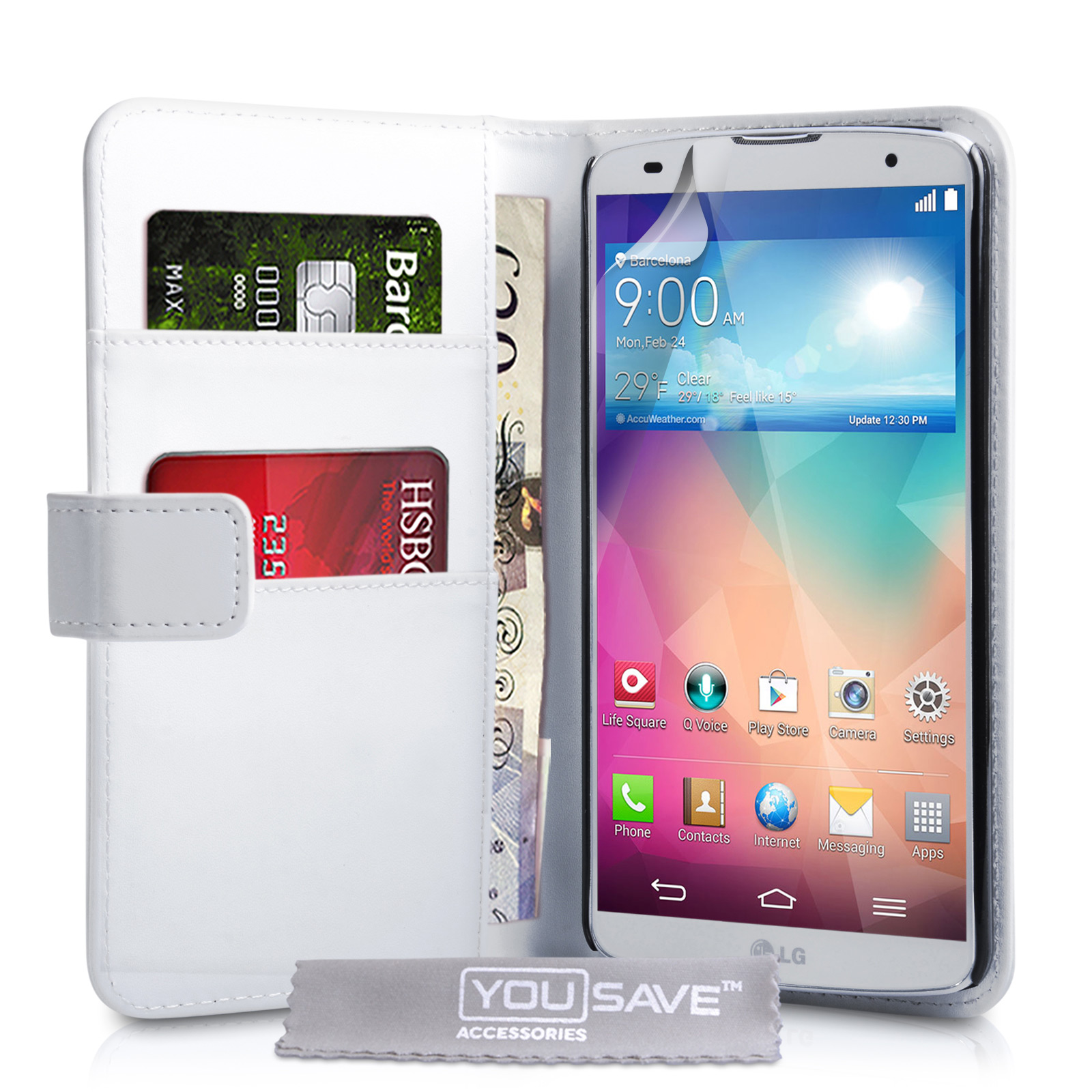 YouSave Accessories LG G Pro 2 Leather-Effect Wallet Case - White