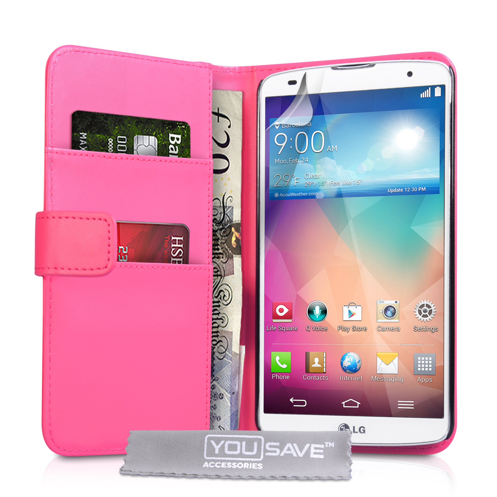 YouSave Accessories LG G Pro 2 Leather-Effect Wallet Case - Hot Pink