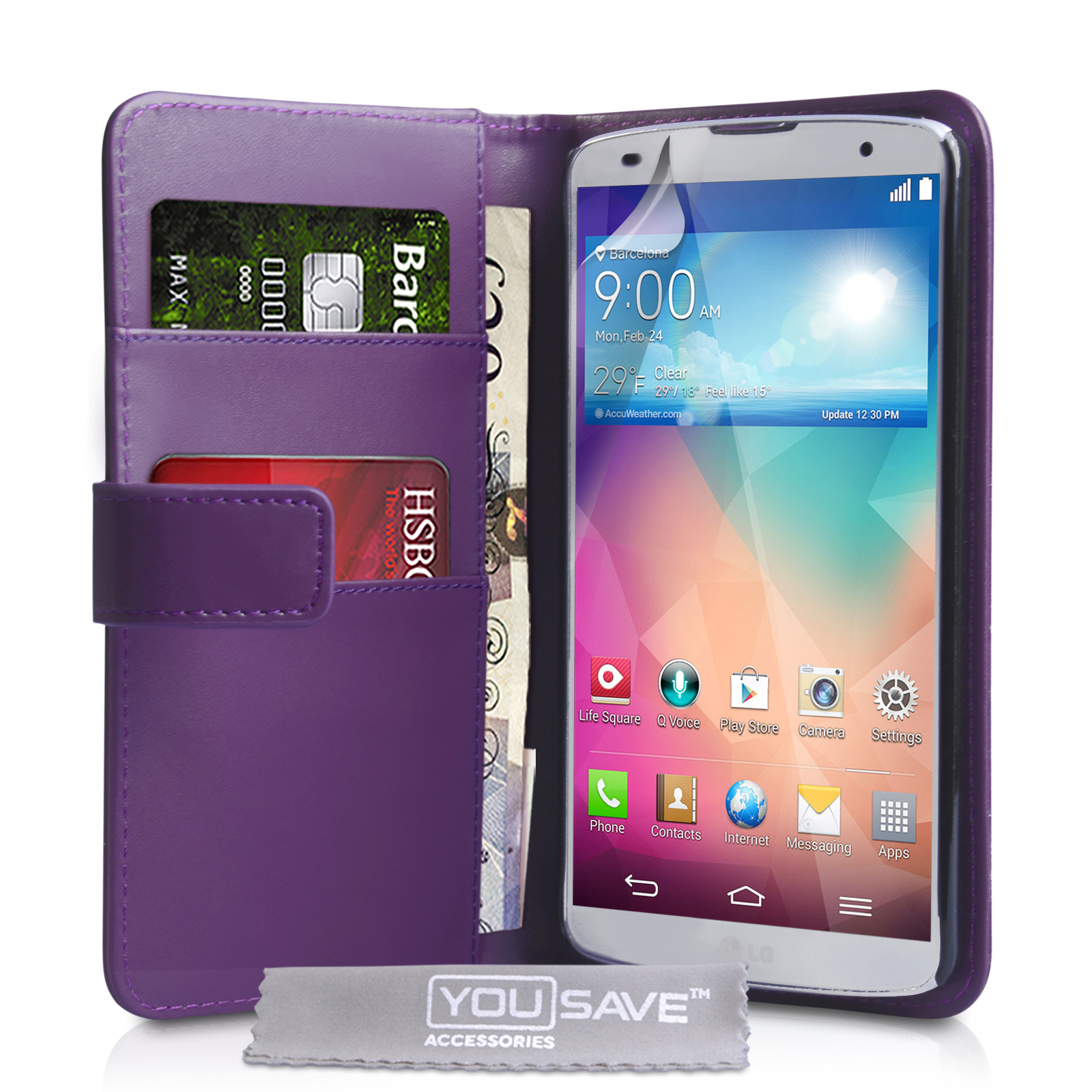 YouSave Accessories LG G Pro 2 Leather-Effect Wallet Case - Purple