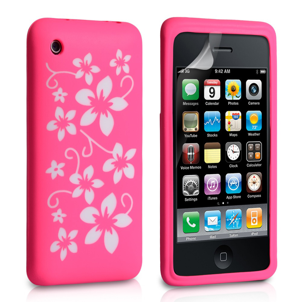 YouSave Accessories iPhone 3G / 3GS Floral Silicone Case - Hot Pink