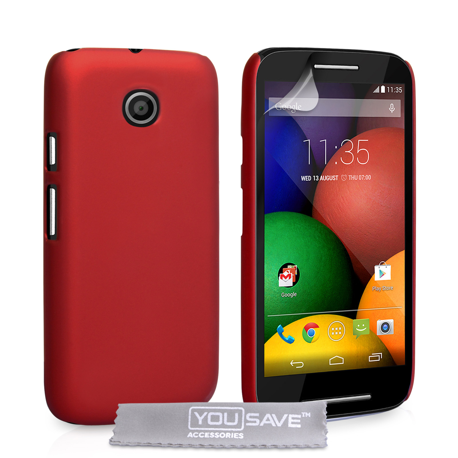 YouSave Accessories Motorola Moto E Hard Hybrid Case - Red