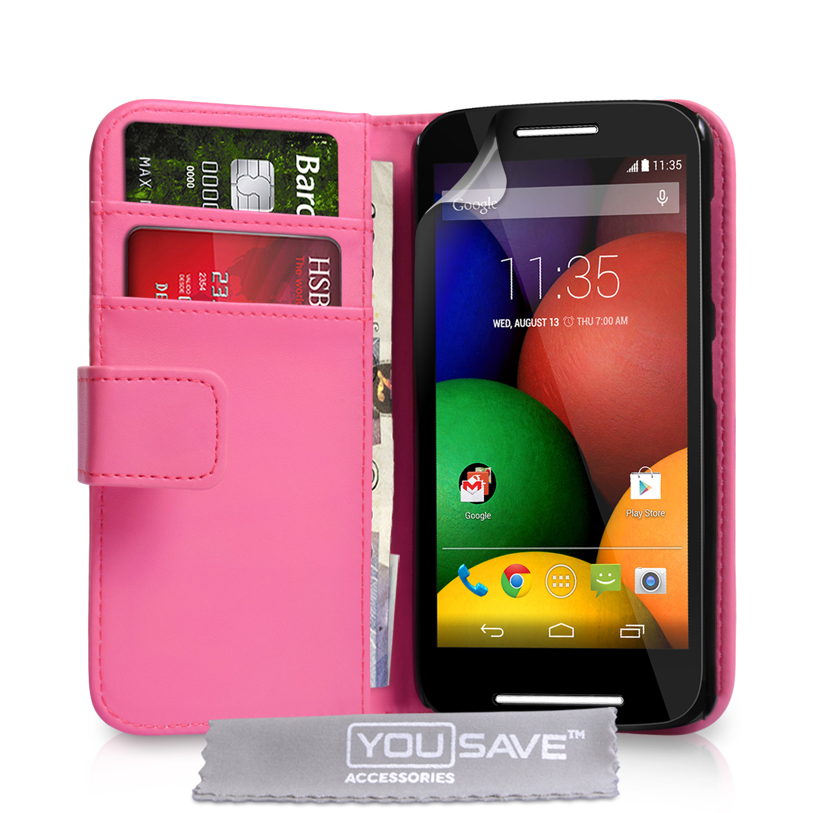 YouSave Motorola Moto E Leather-Effect Wallet Case - Hot Pink