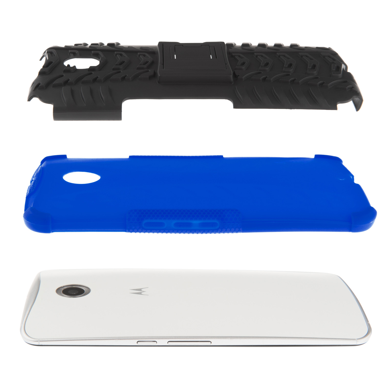 YouSave Accessories Google Nexus 6 Stand Combo Case - Blue / Black