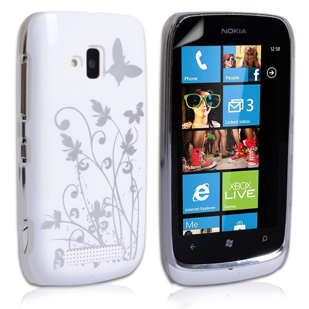 YouSave Accessories Nokia Lumia 610 Butterfly IMD Hard Case - White