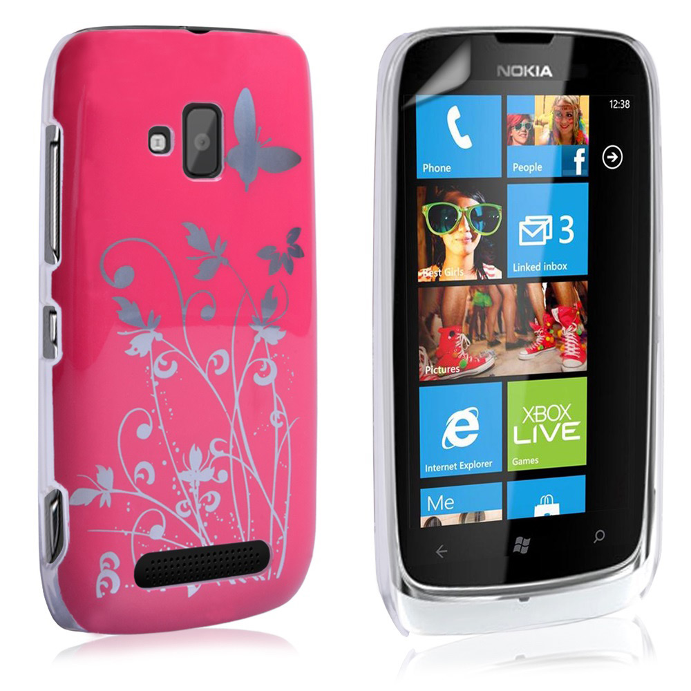 YouSave Accessories Nokia Lumia 610 Butterfly IMD Hard Case - Hot Pink