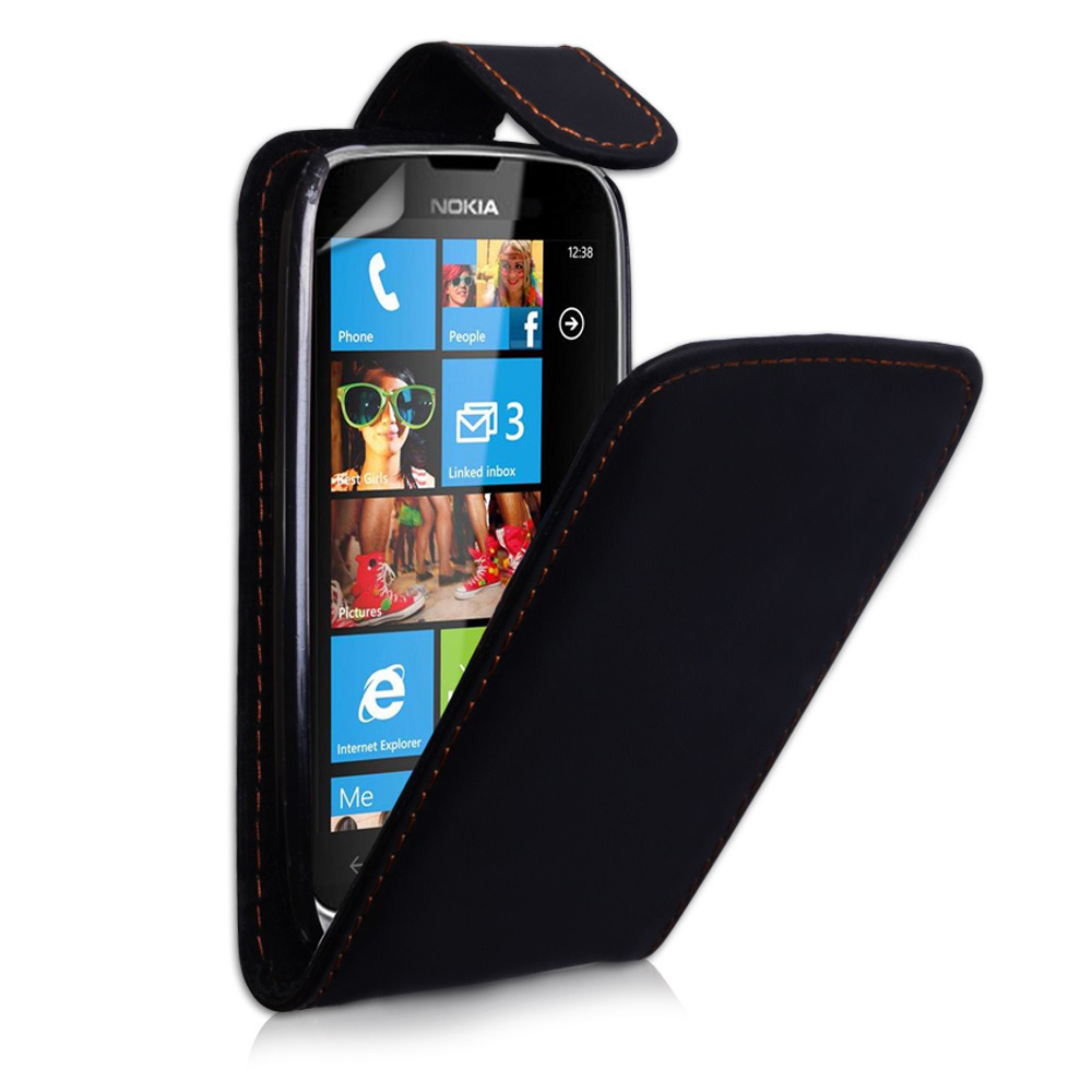 YouSave Accessories Nokia Lumia 610 Leather Effect Flip Case - Black