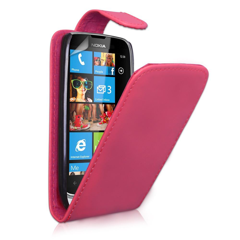 YouSave Nokia Lumia 610 Leather Effect Flip Case - Hot Pink