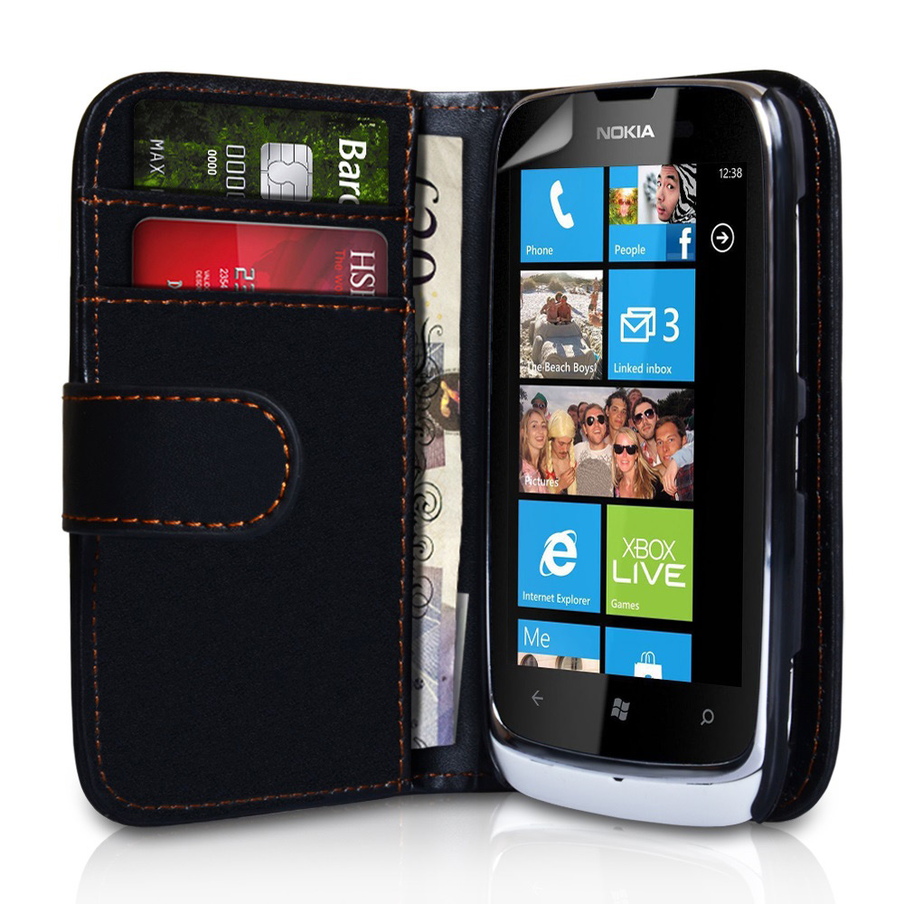 YouSave Accessories Nokia Lumia 610 Leather Effect Wallet Case - Black