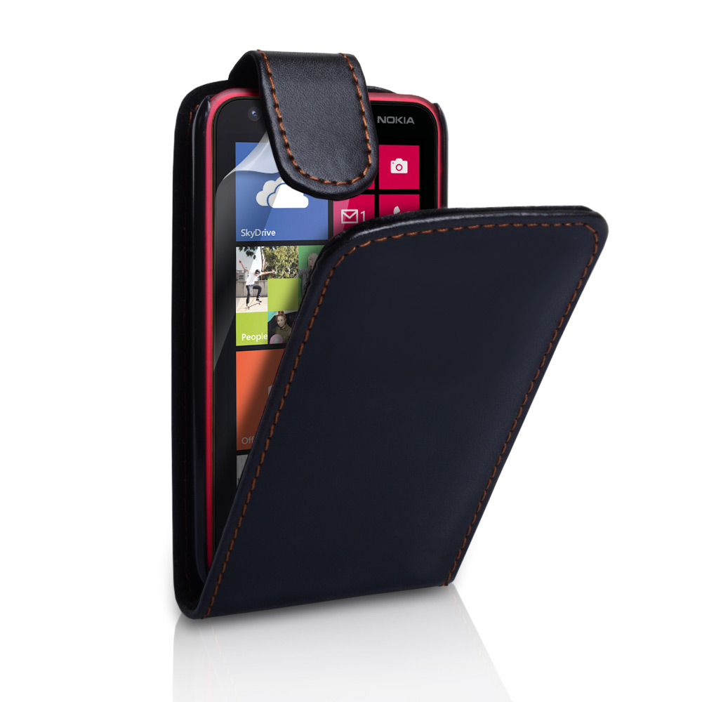 YouSave Accessories Nokia Lumia 620 Leather Effect Flip Case - Black