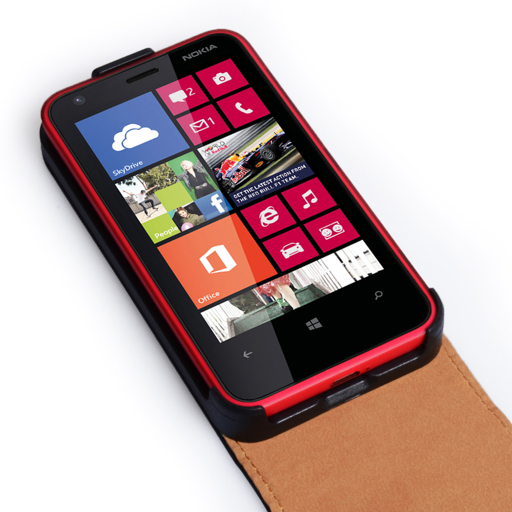 YouSave Accessories Nokia Lumia 620 Real Leather Flip Case - Black