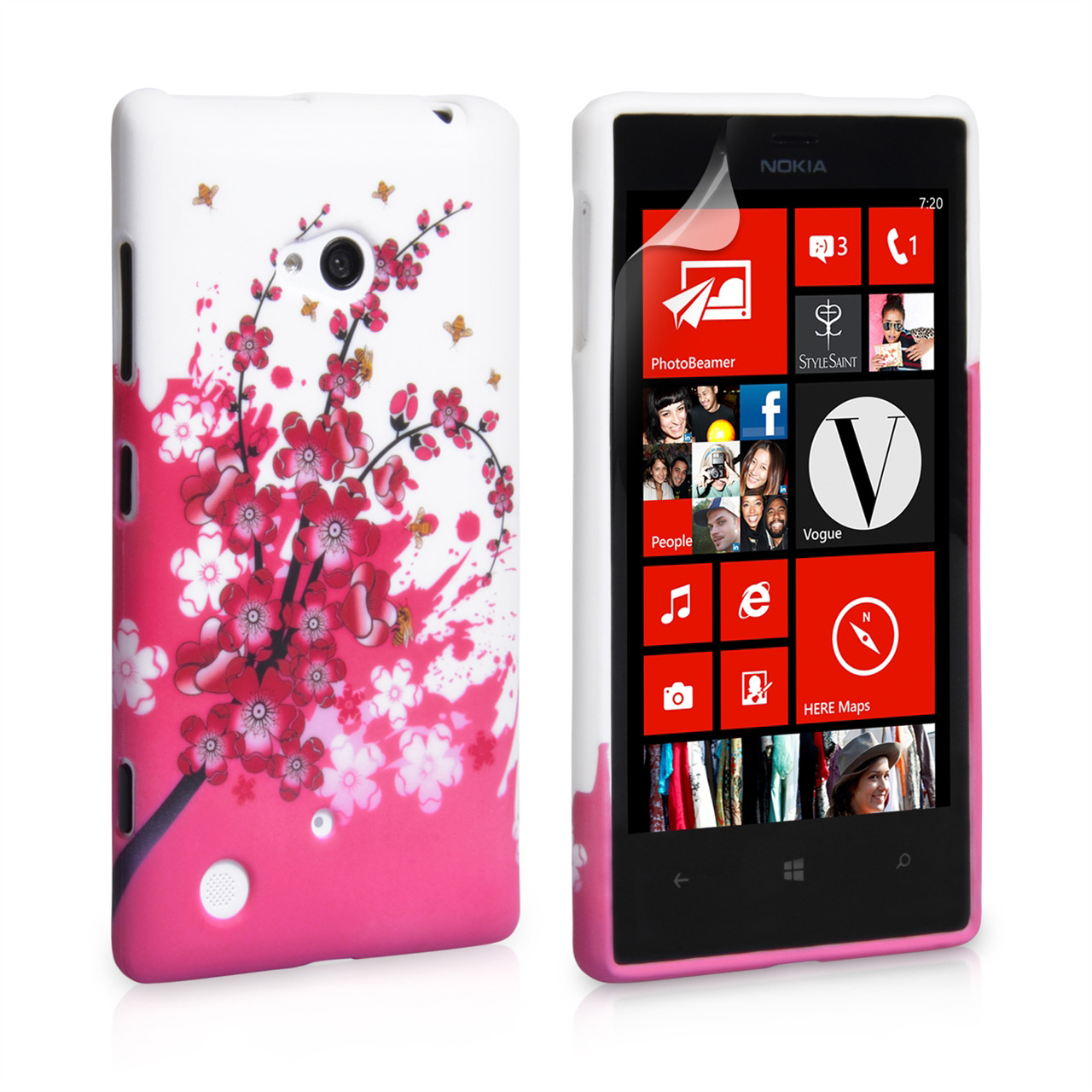YouSave Accessories Nokia Lumia 720 Floral Bee Silicone Gel Case