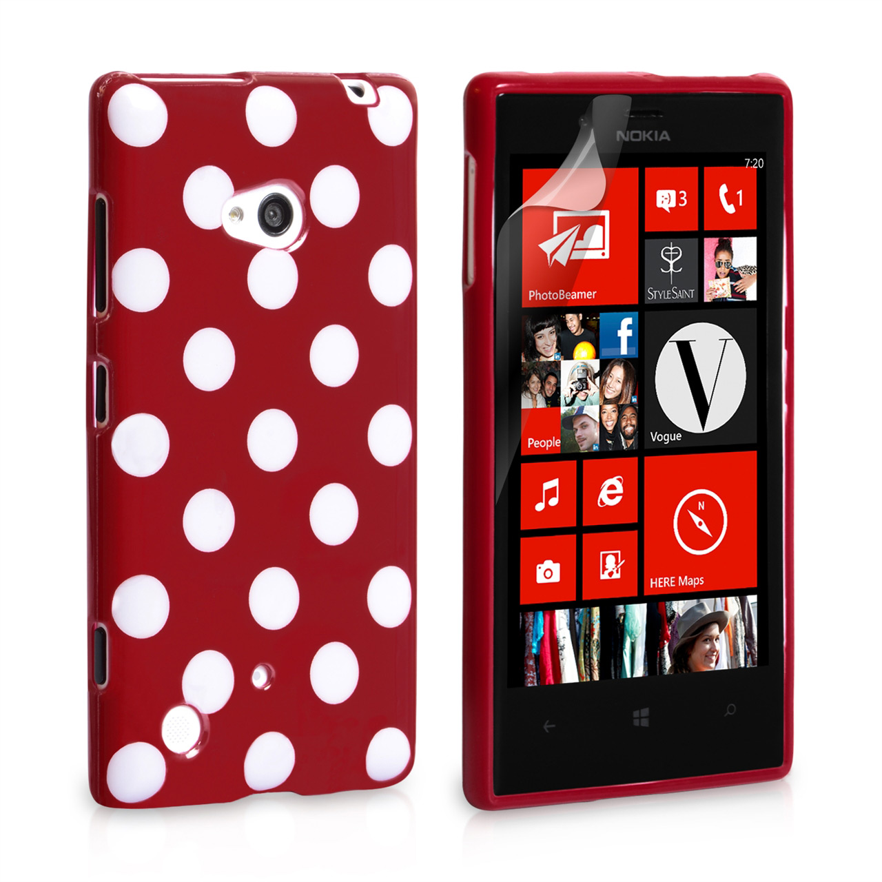 YouSave Accessories Nokia Lumia 720 Polka Dot Gel Case - Red