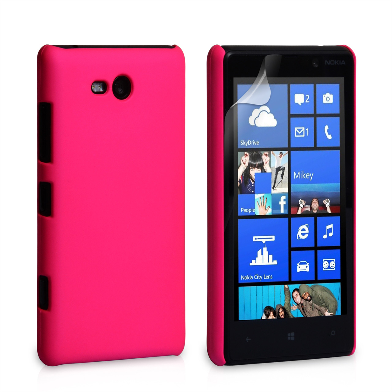 YouSave Accessories Nokia Lumia 820 Hybrid Hard Case - Hot Pink