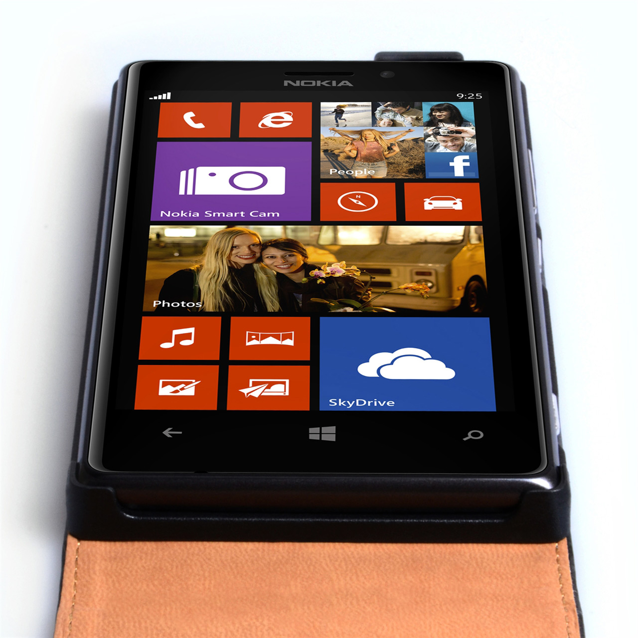 YouSave Accessories Nokia Lumia 925 Real Leather Flip Case - Black