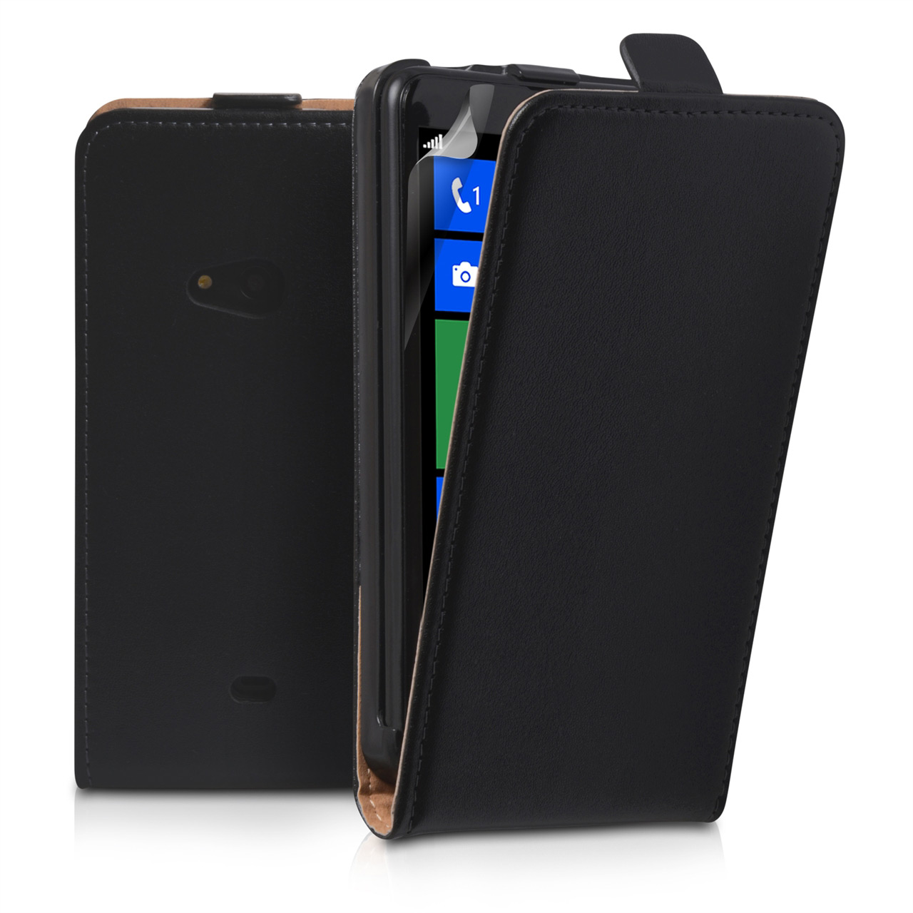 YouSave Accessories Nokia Lumia 625 Real Leather Flip Case - Black