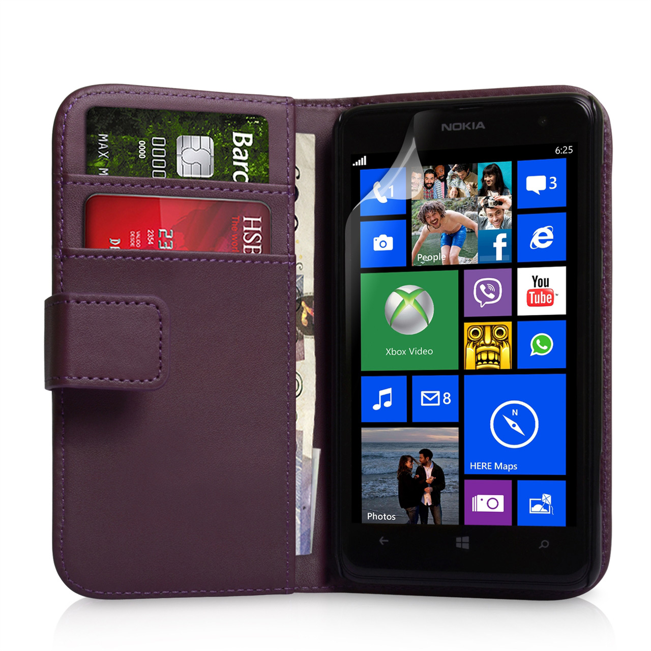 YouSave Nokia Lumia 625 Leather Effect Wallet Case  - Purple