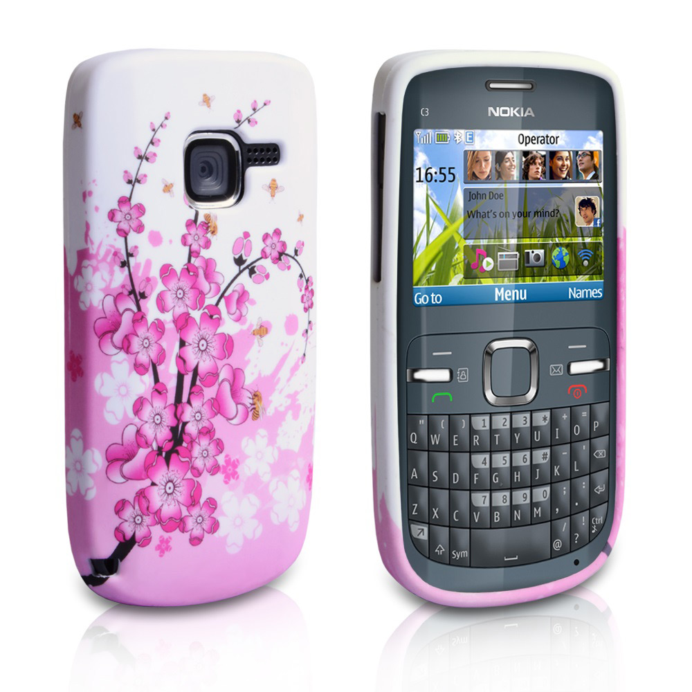 YouSave Accessories Nokia C3 White-Pink Floral Bee Gel Case
