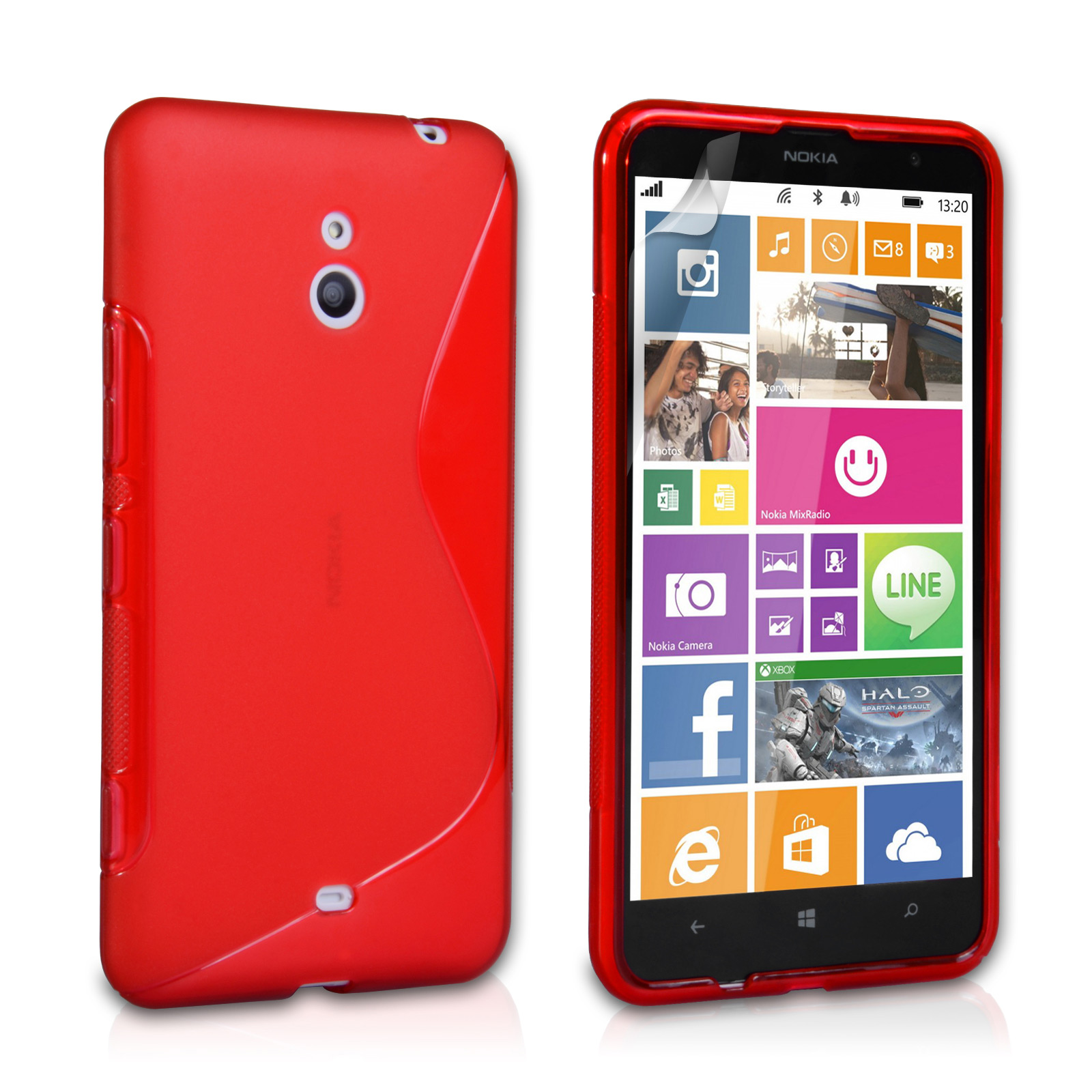 meet a0288 49edb Caseflex Nokia Lumia 1320 Silicone Gel S-Line Case - Red