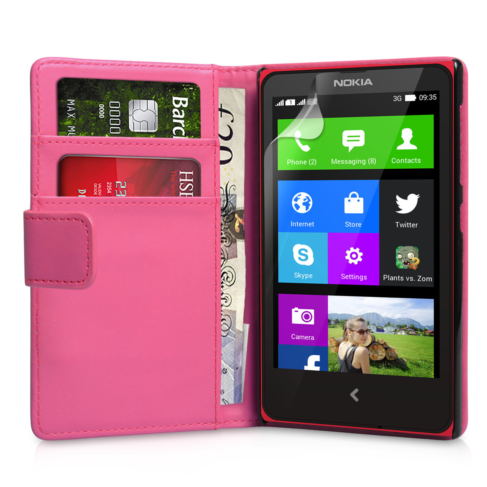 YouSave Accessories Nokia X Leather-Effect Wallet Case - Hot Pink