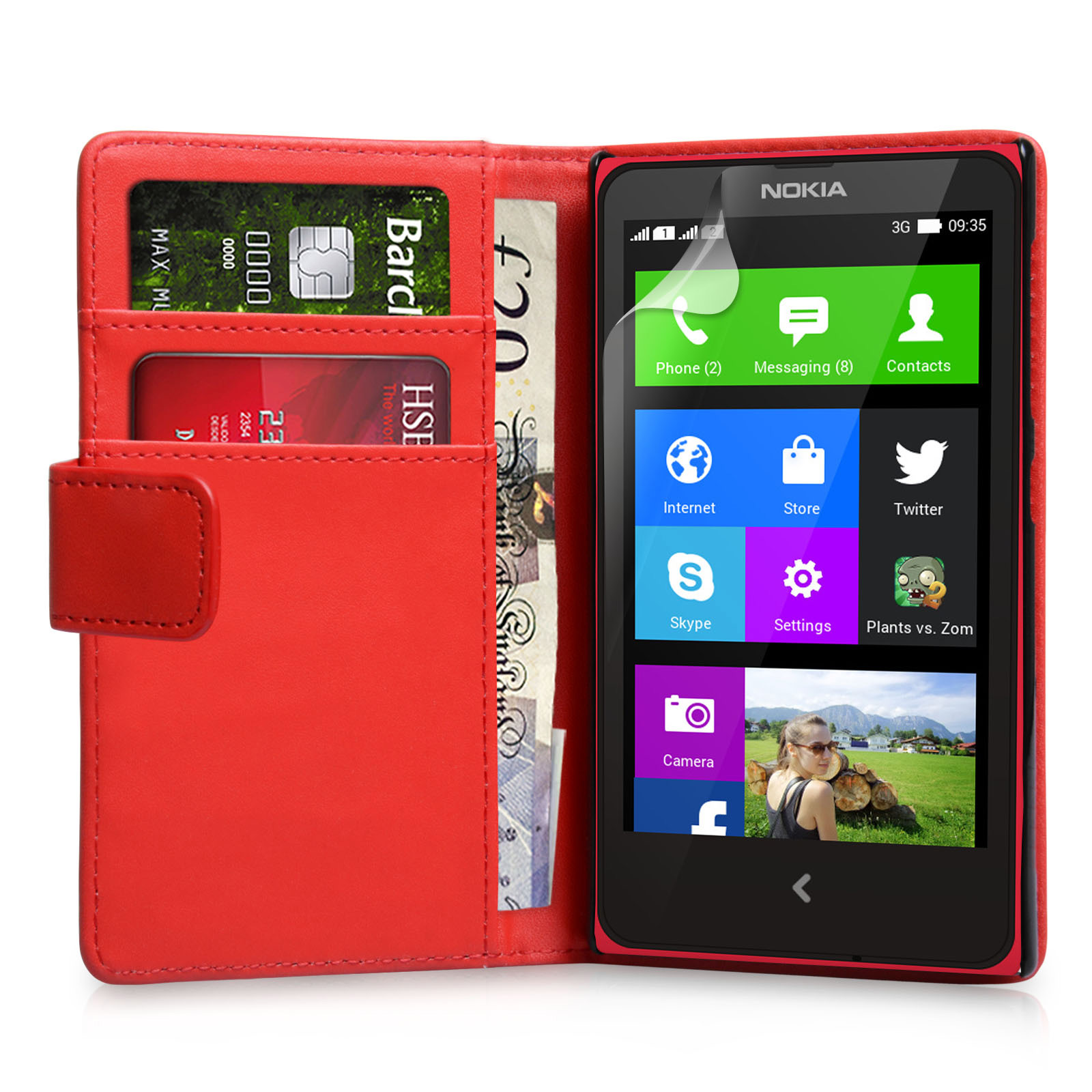 YouSave Accessories Nokia X Leather-Effect Wallet Case - Red