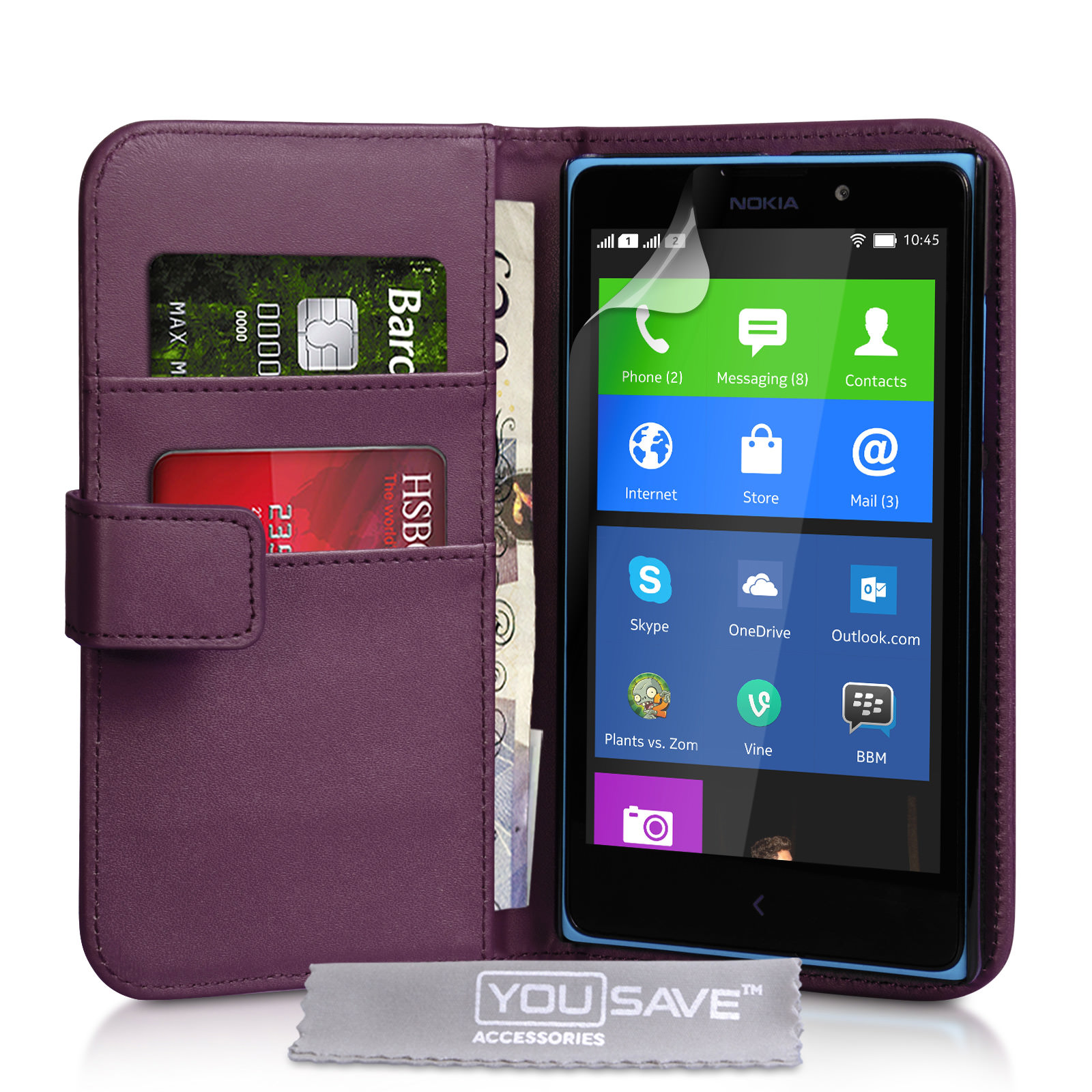 YouSave Accessories Nokia XL Leather-Effect Wallet Case - Purple