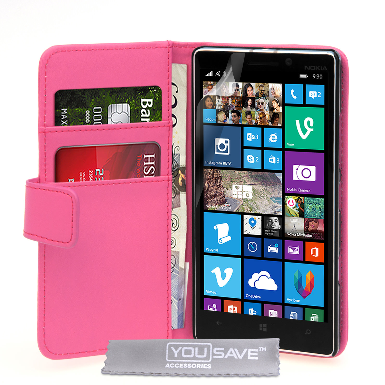 YouSave Nokia Lumia 930 Leather-Effect Wallet Case - Hot Pink
