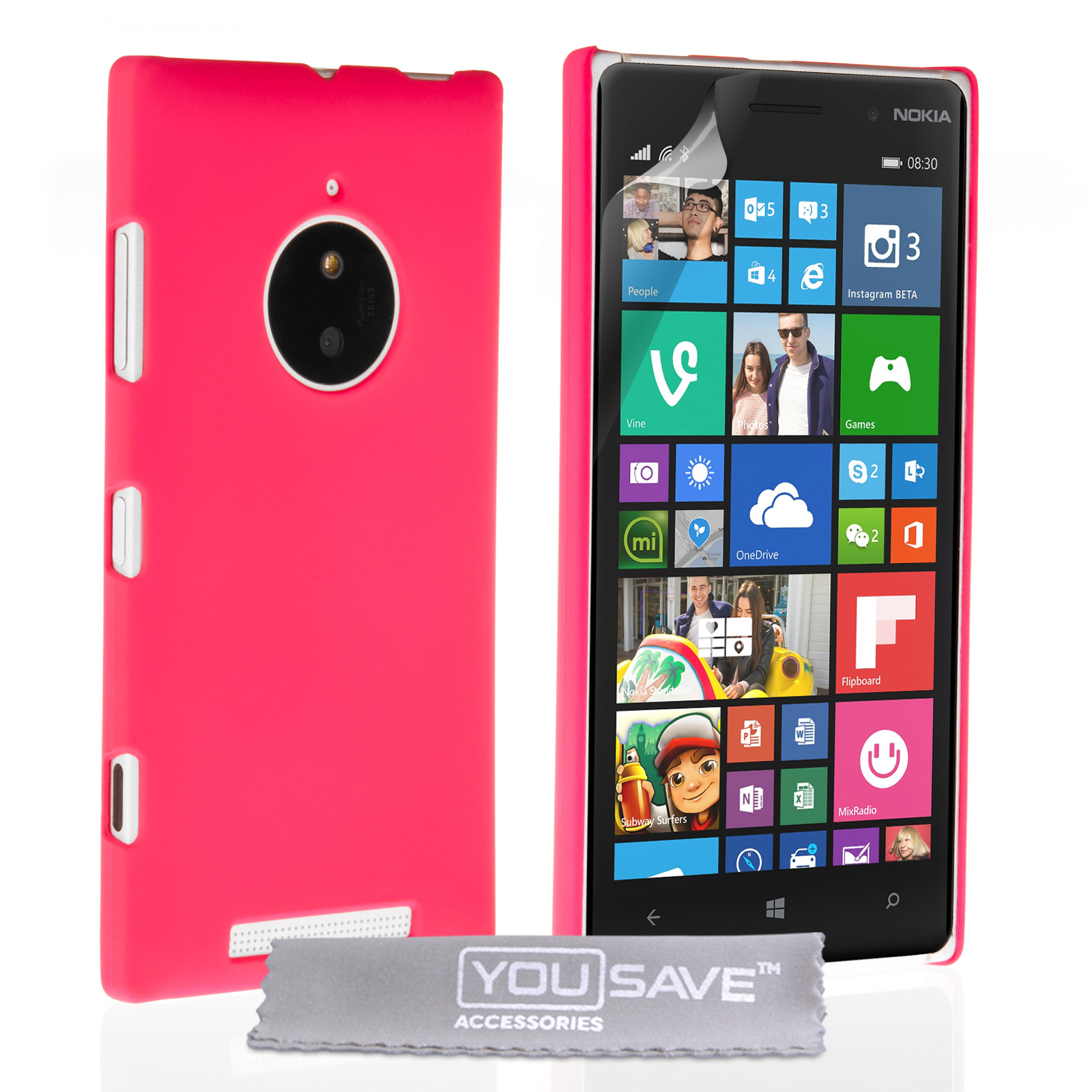 hot sale online 41a65 6a3cf Yousave Accessories Nokia Lumia 830 Hard Hybrid Case - Hot Pink