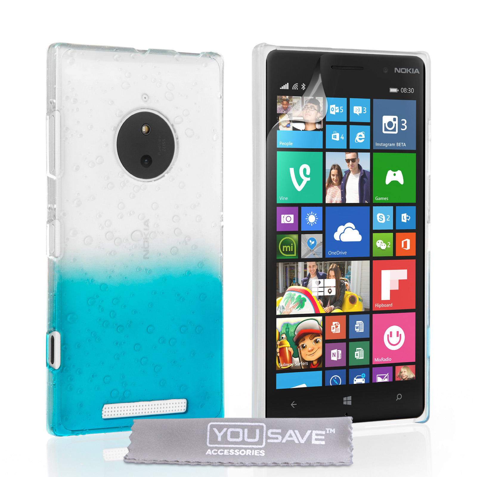 new product ab660 8e457 Yousave Accessories Nokia Lumia 830 Raindrop Hard Case - Blue-Clear