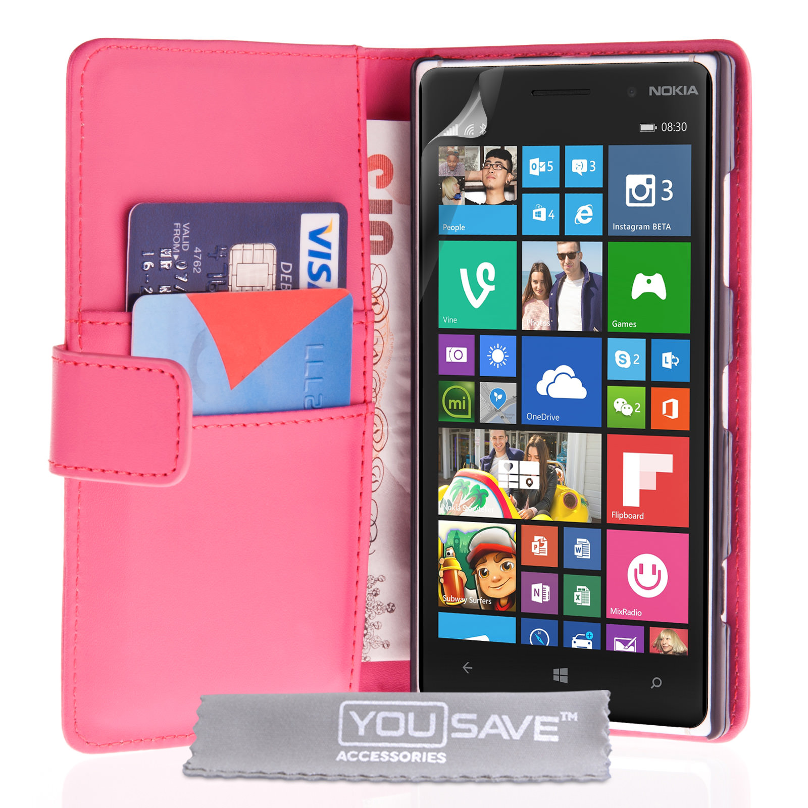 YouSave Nokia Lumia 830 Leather-Effect Wallet Case - Hot Pink